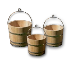 Wooden buckets (well buckets)